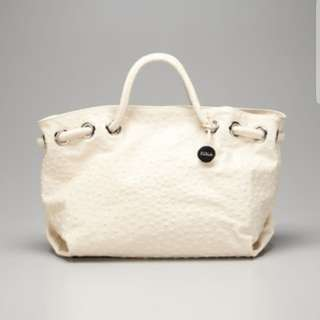 furla 'carmen' tote in ostrich embossed leather