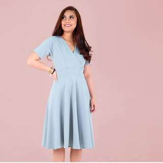 Mint Overlap Midi Dress
