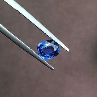 天然無燒斯里蘭卡1.37ct藍寶石祼石AIGS證書