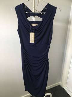 Navy stretchy rouched dress - size 6