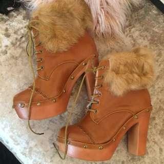 Brown faux fur boots high heel platform