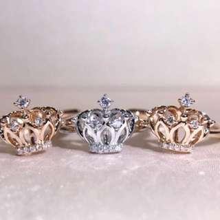 👑18K 白金或玫瑰金皇冠鑽石戒指