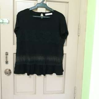 Black top with lace design