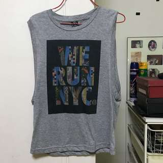 Muscle tee 'WE RUN NYC' Sleeveless grey top
