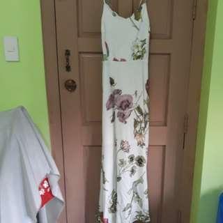 Zalora white printed long dress