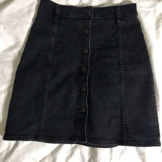 Riders Black Denim Skirt