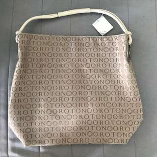 Oroton Stencil Hand Bag Ivory/Taupe