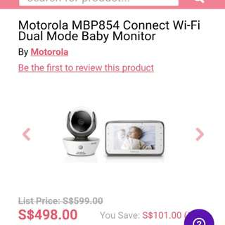 Motorola MBP854 Connect Dual Mode Baby Monitor with Wi-Fi Internet Viewing   (Retailing $498 on Pupsik)
