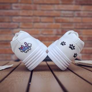 [PRE-ORDER] Women Flat-bottomed Cute Kitty Cat Canvas Sneakers Shoes