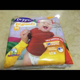 Drypers Drypantz M,1pack is 60 pieces, 1 carton is 3 packs @$33
