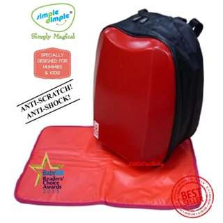 Simple Dimple Shield Diaper Bag (Red)