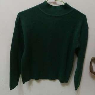 套頭高領森林綠針織毛衣