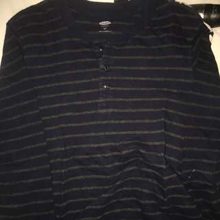 Old Navy stripes henley tee