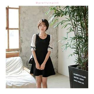 Cute Black Dress with Ribbon Sleeves