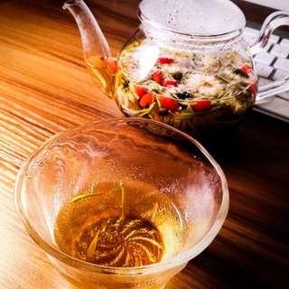 菊杞金銀茶 < 1. 細袋裝 - 價格$38 (內附5個茶包) > 、 < 2. 大袋裝 - 價格$58 (內附10個茶包)