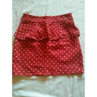 Faded red polka dots skirt