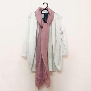 Zalora white cardigan + Arabic shawl