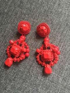 New  紅色華麗耳環