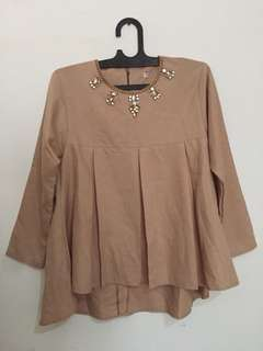 nude blouse with beads