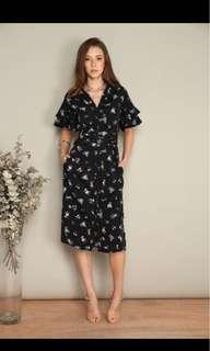 Ruffle Sleeves Kimono Midi Dress