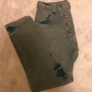 Grey and blue tie dye boyfriend jeans with asymmetrical buttons