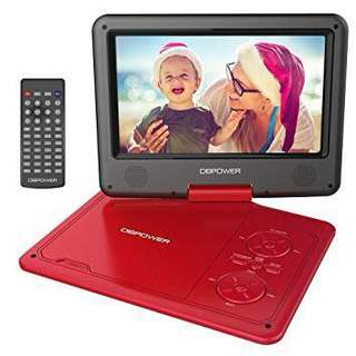"DBPOWER 9.5"" Portable DVD Player, 5 Hour Rechargeable Battery, Swivel Screen, Supports SD Card and USB, Direct Play in Formats AVI/RMVB/MP3/JPEG (RED)"