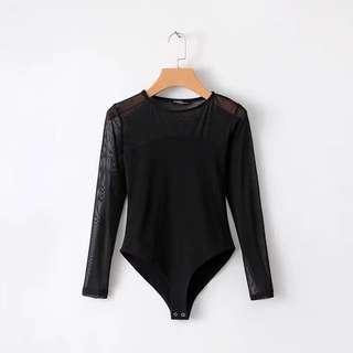 🔥Europen new net yarn stitching Long Sleeve Suit top