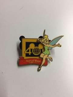 美國迪士尼 Disney Tinkerbell 小叮噹 40 週年 立體 Pin 徽章 襟章