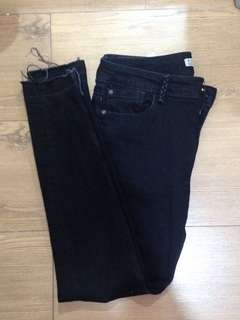 ZARA black basic denim full length jeans middle-waist pants