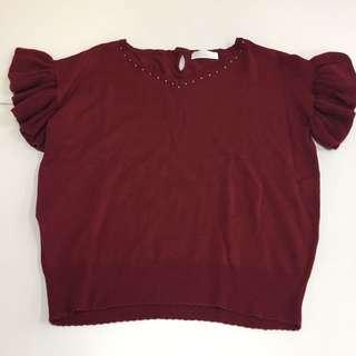 日本Feroux針織上衣top+半截裙套裝set