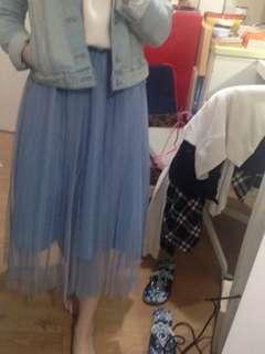 Light blue long medi tulle skirt 紗裙 medium length wedding chiffon skirt 日系傘裙