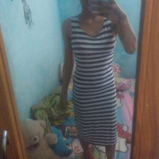 Strip dress bahan strech dibarter aja yuk