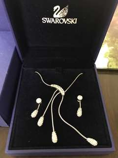 SWAROVSKI 水晶耳環頸鏈一套