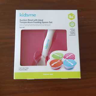 Kidsme Suction Bowl with Ideal Temperature SpoonPink