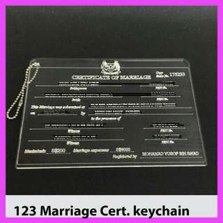 Marriage Cert Keychain