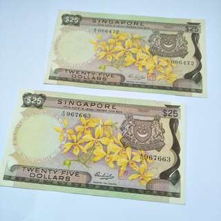 Old sg $25  note 2pc x 105
