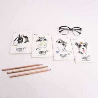 Greedy Animals Ruled Pocket Notes
