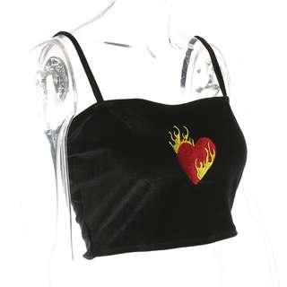 PO // Lit Heart Embroidered Velvet Cami Top // OM077