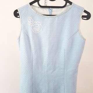 Simple Blue Span Dress -body fit