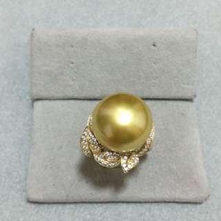 14K黃金特大南洋金珠鋯石戒指