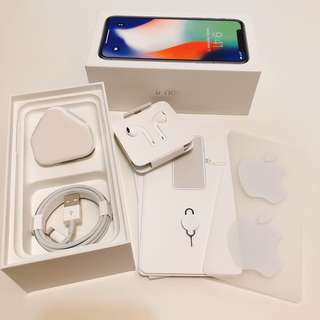 iPhone X box + 全新原裝配件 叉電器 +  earphone + usb線