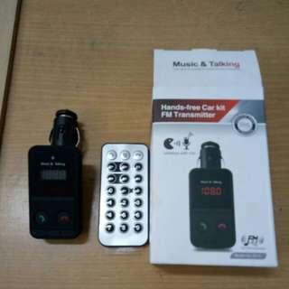 Hand-free car kit FM transmitter