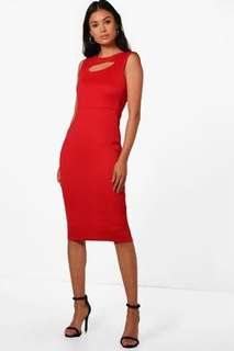 Red Keyhole Fitted Bodycon Mid Length Dress Size 8 New