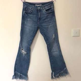 Distressed bootcut crop jeans