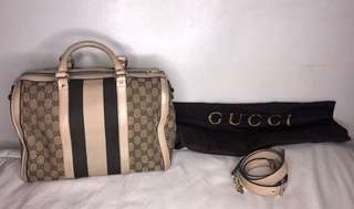 GUCCI Vintage web boston bag medium