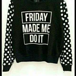Sweater Friday POLKA BLACK TERMURAH