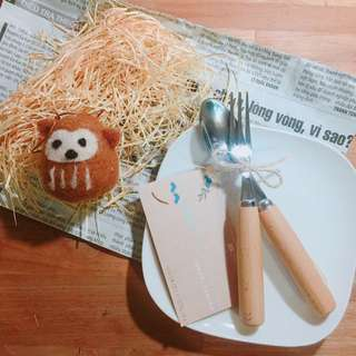 🚚 義賣-幫助流浪毛孩子  Nature kitchen 點心碟+湯匙叉子+羊毛氈 療癒下午茶點組
