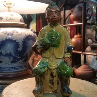Antique China Ceramic Shi Wan Porcelain Monkey King清朝同治年间(1861~1875)石湾陶瓷齐天大圣。