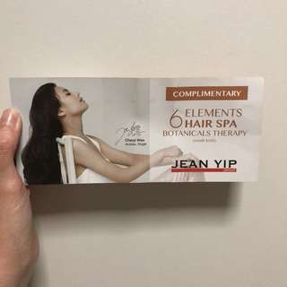 Jean Yip hair spa voucher