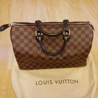 98新 正版Louis Vuitton LV Speedy 35 Damier 有鎖